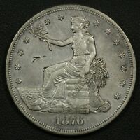 1876 S CHOPMARK TRADE SILVER DOLLAR   CLEANED