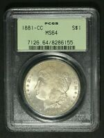 1881 CC CARSON CITY MORGAN SILVER DOLLAR PCGS MS 64   OGH