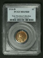 1914 D LINCOLN WHEAT CENT COPPER PENNY PCGS MS 65 RD   TOM MERSHON COLLECTION