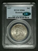 1937 ROANOKE SILVER COMMEMORATIVE HALF DOLLAR PCGS MS 66 CAC