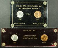 2X 1955 S LINCOLN WHEAT CENT & ROOSEVELT SILVER DIME   YEAR THE MINT CLOSED SET