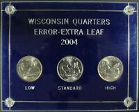 2004 D EXTRA HIGH LEAF EXTRA LOW LEAF & NORMAL WISCONSIN QUARTER SET