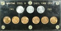 1943 1945 PDS WARTIME STEEL & SHELL CASE LINCOLN WHEAT CENT SET