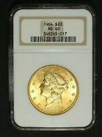 1904 $20 TWENTY DOLLAR GOLD LIBERTY HEAD DOUBLE EAGLE NGC MS 60