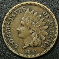 1861 COPPER NICKEL INDIAN HEAD CENT PENNY