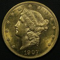 1907 D $20 TWENTY DOLLAR GOLD LIBERTY HEAD DOUBLE EAGLE
