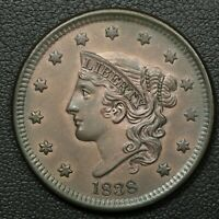 1838 CORONET MATRON HEAD COPPER LARGE CENT