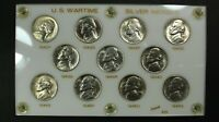 1942 1945 PDS SILVER WARTIME NICKEL COMPLETE SET   HAIRLINES