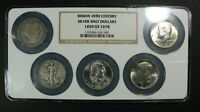 NGC SET OF BINION 20TH CENTURY SILVER HALF DOLLARS