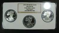 1998 1999 & 2000 PROOF SILVER EAGLE SET NGC PR 69 ULTRA CAMEO