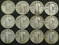 LOT OF 12 STANDING LIBERTY SILVER QUARTERS   4 HAVE BEEN ACID TREATED