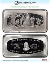 1974 FRANKLIN MINT CHRISTMAS INGOT THE SNOWMAN 500 GRAIN STERLING SILVER BAR