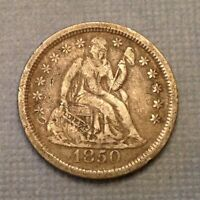 1850 US SEATED LIBERTY DIME 10 CENTS - DETAILS