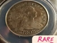 1802 BUST SILVER HALF DOLLAR, ANACS F12 DETAILS, REPAIRED, TOOLED, POLISHED G182