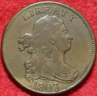 1807 DRAPED BUST HALF CENT CHOICE  FINE BETTER DATE 1/2C EARLY COPPER COIN