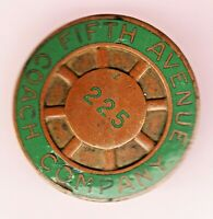 VINTAGE FIFTH AVENUE COACH COMPANY NEW YORK CITY BUS DRIVER HAT BADGE 225