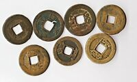 NICE GROUP OF  7  OLD CHINESE CASH BRASS/BRONZE COINS LOW START $0.99