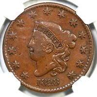 1828 N-4 R-4 NGC F 15 LG DATE MATRON OR CORONET HEAD LARGE CENT COIN 1C