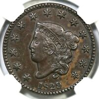 1829 N-1 R-3 NGC EXTRA FINE  40 MATRON OR CORONET HEAD LARGE CENT COIN 1C