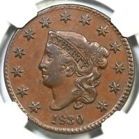 1830 N-5 R-3 NGC EXTRA FINE  45 MATRON OR CORONET HEAD LARGE CENT COIN 1C