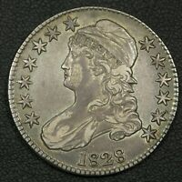 1828 O-119 CAPPED BUST SILVER HALF DOLLAR - CLEANED