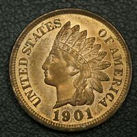 1901 INDIAN HEAD CENT COPPER PENNY