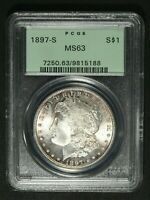 1897 S MORGAN SILVER DOLLAR PCGS MINT STATE 63 - OGH