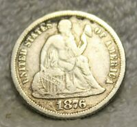 1876S SEATED DIME
