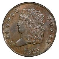 1828 C-2 NGC MINT STATE 63 BN 12 STARS CLASSIC HEAD HALF CENT COIN 1/2C