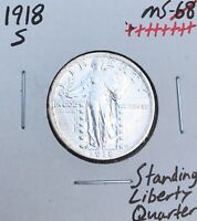 1918-S   UNCIRCULATED BLAST WHITE  KEY DATE  STANDING LIBERTY QUARTER Z0