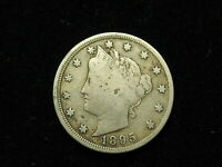 BEAUTIFUL OLDER DATE 1895 LIBERTY V NICKEL VF-EXTRA FINE  COLLECTIBLE U.S. COIN 217V