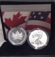 2019 PRIDE OF TWO NATIONS CANADA LIMITED EDITION TWO COIN SET EAGLE MAPLE LEAF