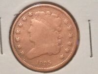 1835 HALF CENT LOW MINTAGE 398,000 FINE