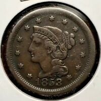 1853 BRAIDED HAIR LARGE CENT US 1C
