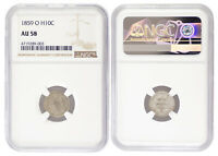 1859-O H10C SEATED LIBERTY HALF DIME NGC AU58 ALMOST UNCIRCULATED CERTIFIED 9003