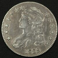 1829 CAPPED BUST SILVER HALF DOLLAR   CLEANED