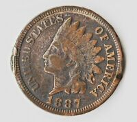 1887 INDIAN HEAD CENT WITH NUMEROUS PLANCHET FISSURES AND A UNUSUAL ALLOY