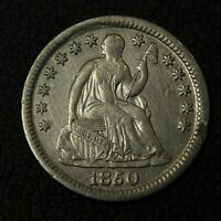 1850 SEATED LIBERTY SILVER HALF DIME   CLEANED