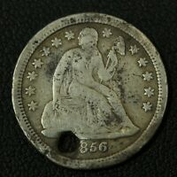 1856 S SEATED LIBERTY SILVER DIME   HOLED