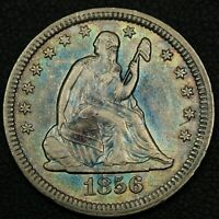 1856 SEATED LIBERTY SILVER QUARTER   CLEANED
