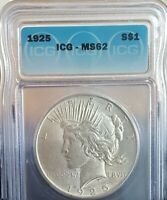 1925 MINT STATE 62 ICG PEACE SILVER ONE DOLLAR $1 BEAUTIFUL HIGH GRADE UNC. COIN