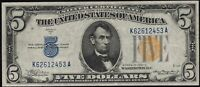 1934 A $5 FIVE DOLLAR NORTH AFRICA EMERGENCY SILVER CERTIFICATE NOTE FR2307
