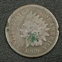 1869/9 INDIAN HEAD CENT COPPER PENNY   CORROSION