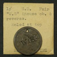 1838 W.S COUNTERSTAMP CORONET MATRON HEAD COPPER LARGE CENT   HOLED