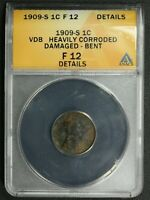 1909 S VDB LINCOLN WHEAT CENT COPPER PENNY ANACS F 12 DETAILS