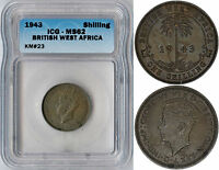 BRITISH WEST AFRICA SHILLING 1943 ICG MINT STATE 62 PREMIUM QUALITY