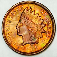 1895 INDIAN HEAD CENT GEM BU KNOCKOUT COLORSO SO  STUNNER WOW3527