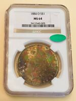 1884 O MORGAN NGC MINT STATE 64 CAC UNREAL ELECTRIC GREEN TONING SUPER  WOW $$$$$