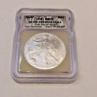 2007  AMERICAN SILVER EAGLE DOLLAR  ICG MS70 FIRST DAY OF ISSUE