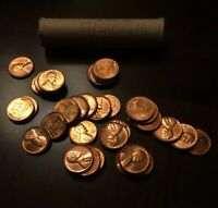 1957 WHEAT PENNY   PARTIAL BU WHEAT PENNY ROLL   40 RED BU PENNIES   40 COINS